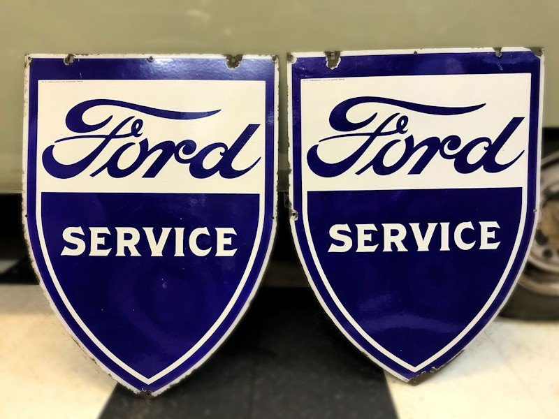 Original single sided Ford Service shield enamel signs