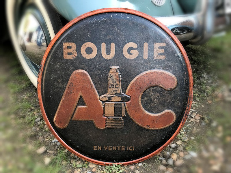 Circular embossed tin Bougie spark plug AC sign
