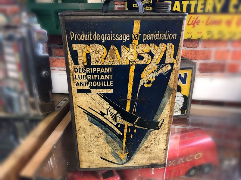 Vintage Transyl agricultural and motoring grease can