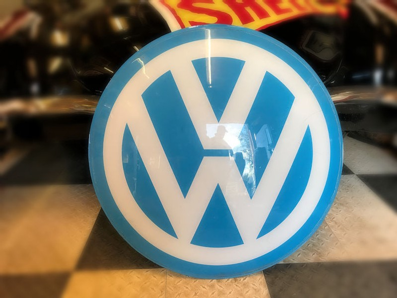 Plastic dome shaped VW sign