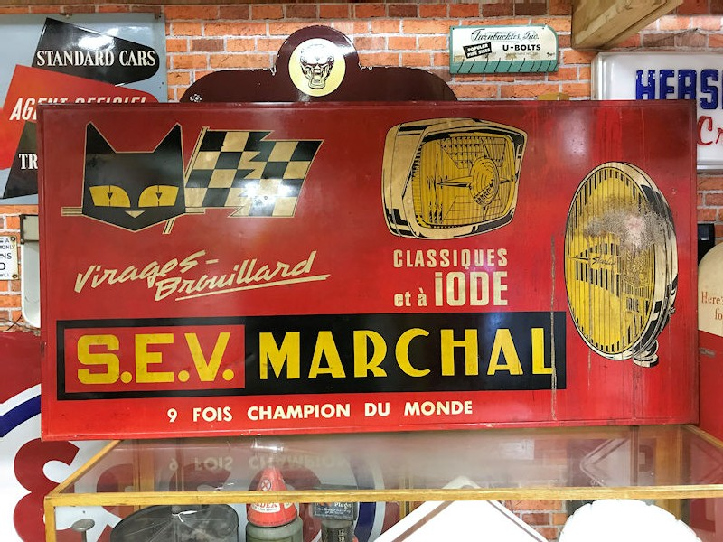 Marchal painted tin sign in original wooden frame