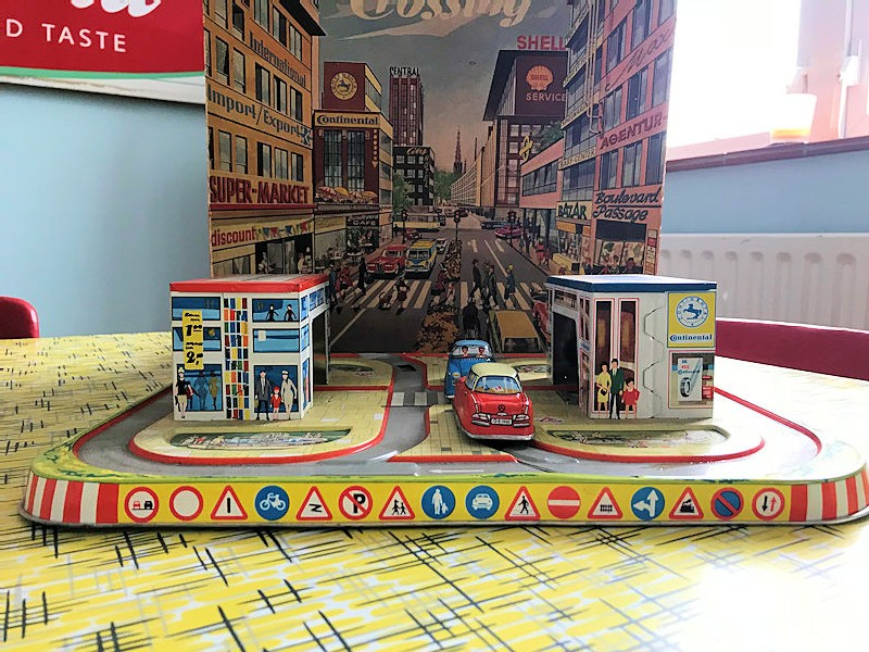 1960s Shell themed tin plate toy zebra crossing and garage