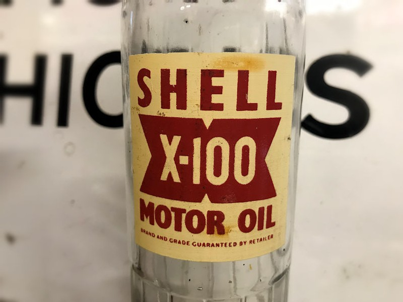 Original BP Energol, Shell and Mobiloil glass bottles