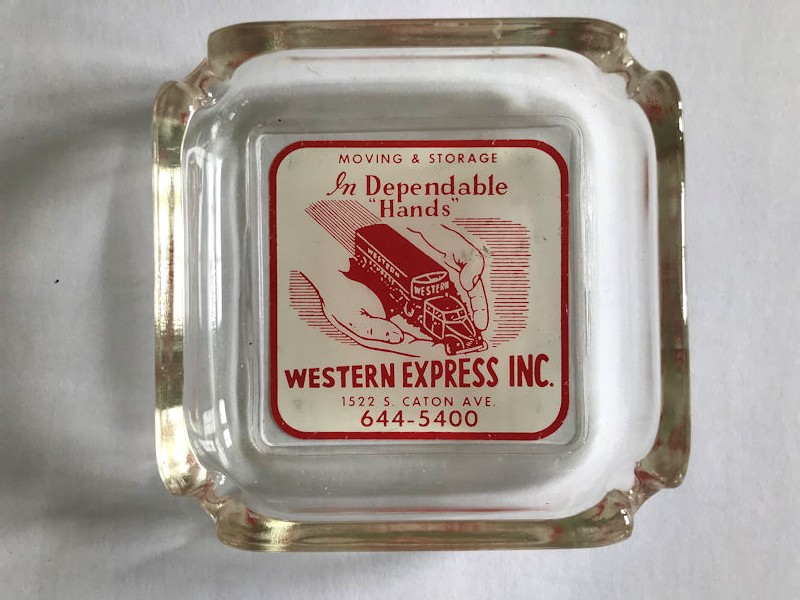 1950s Western Express glass ashtray