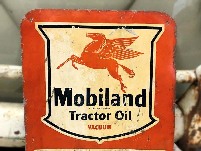 Original painted tin Mobiland tractor oil sign and chalk board