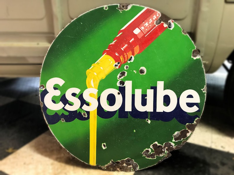 Original enamel Essolube circular sign