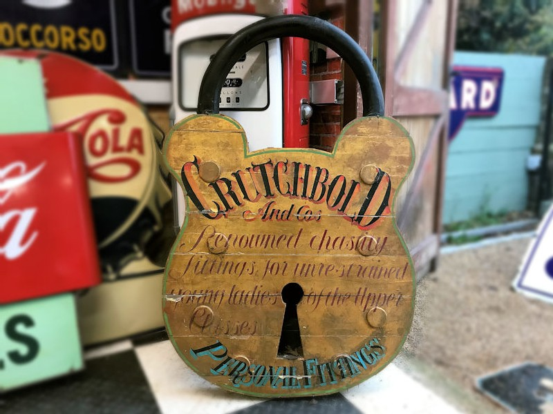 Vintage fairground wooden chastity lock advertising sign
