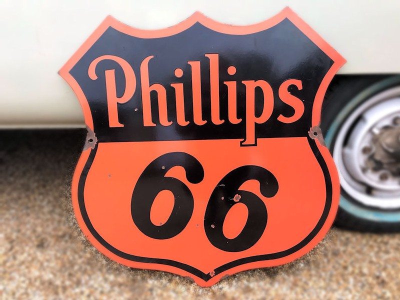 Original Phillips double sided shield enamel sign