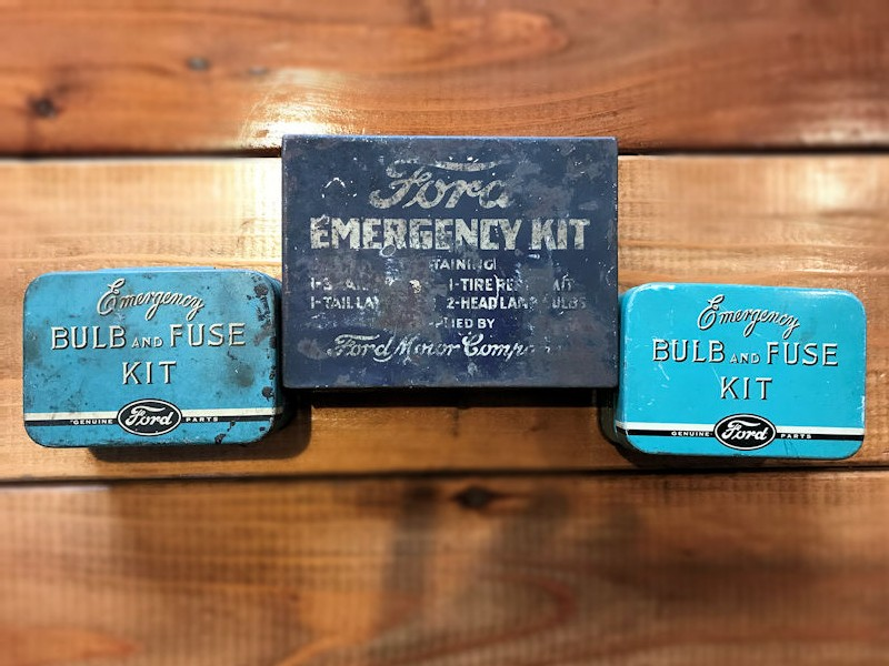 Original 1940s and 1950s Ford emergency and bulb and fuse kits