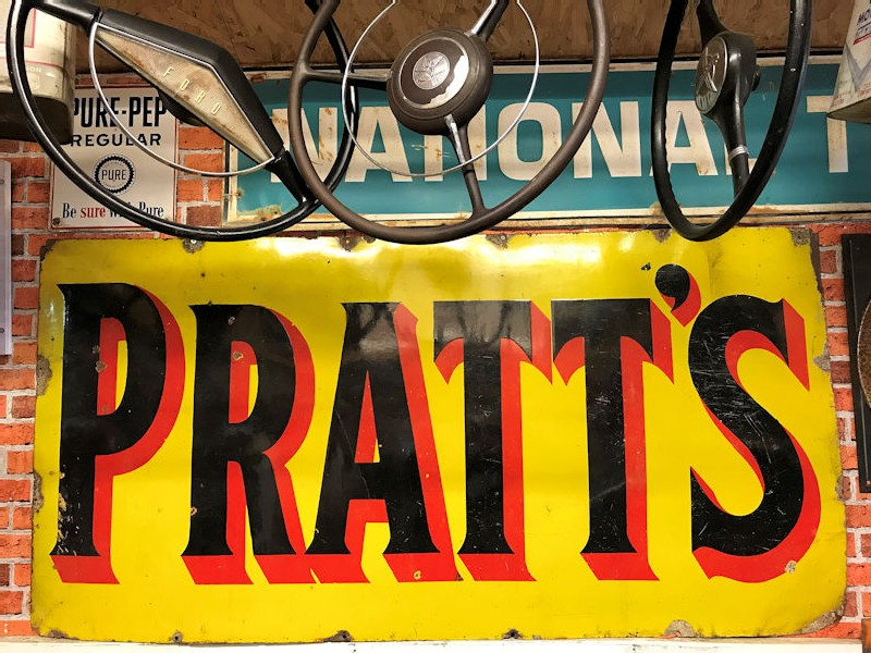 Original large enamel Pratts sign