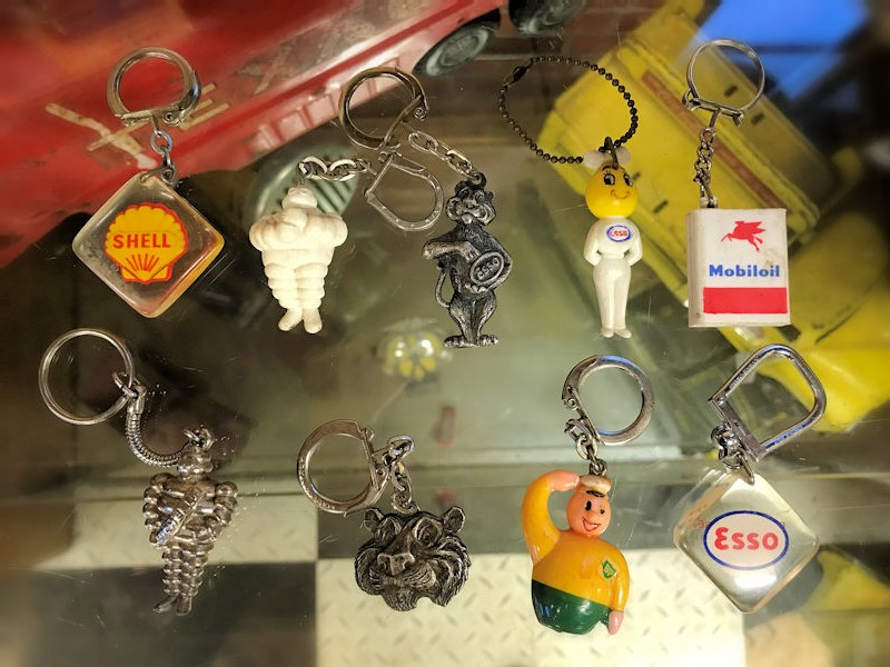 Vintage Esso Shell Michelin Mobil and BP key rings