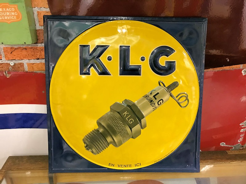 Original 1940s French embossed tin KLG sign