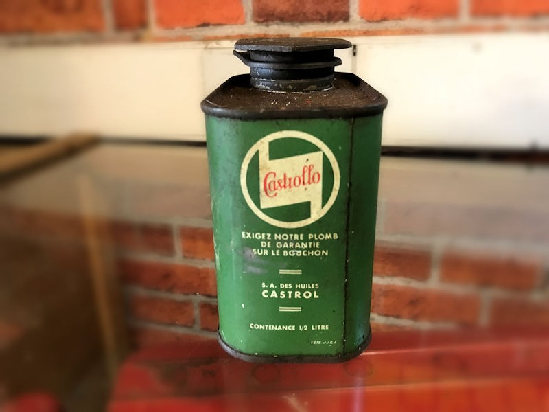 Castrollo tin and Castrol oil pourer