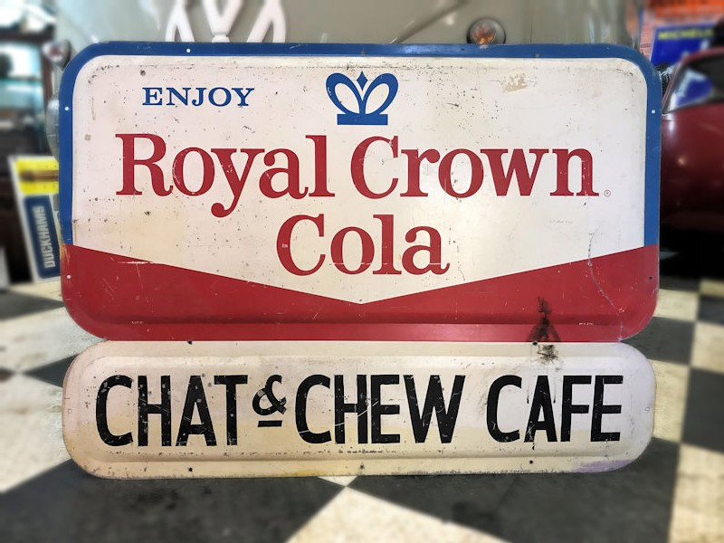 Original painted tin Chat and chew cafe sign
