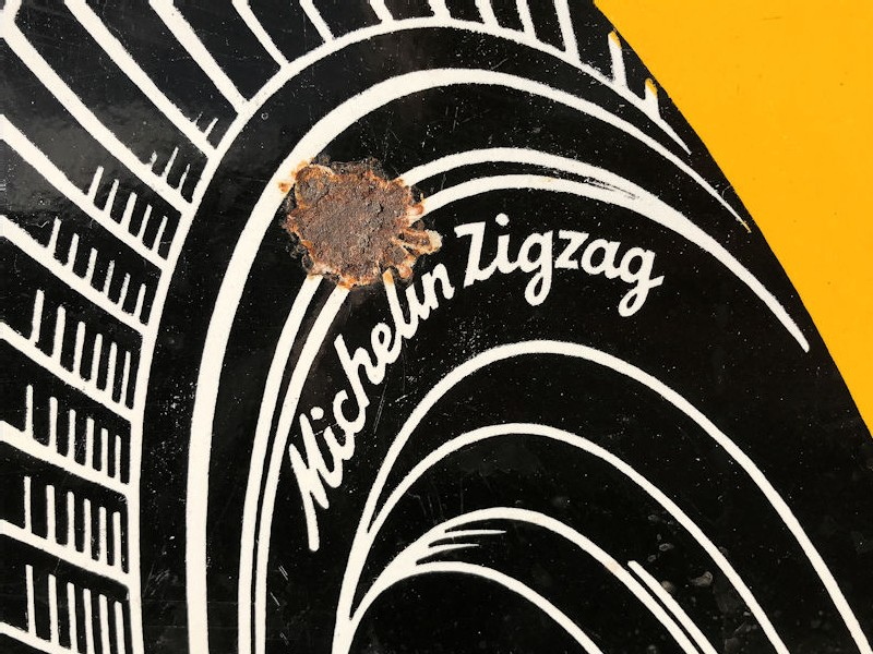 Original 1959 enamel Michelin zig zag tyres sign