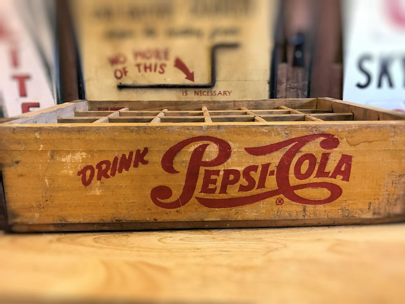 Original Pepsi Coca Cola and 7 Up crates