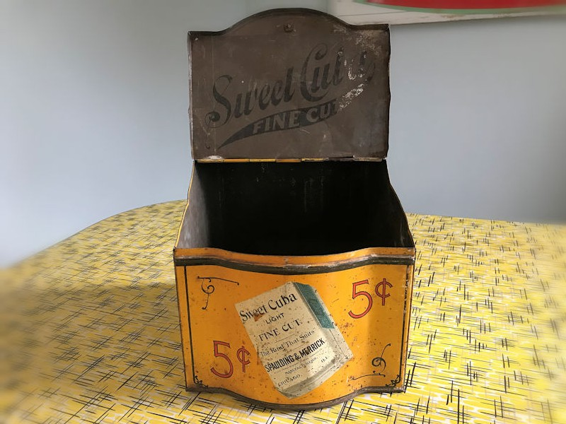 Early 19th century Sweet Cuba fine cut tobacco store counter display tin