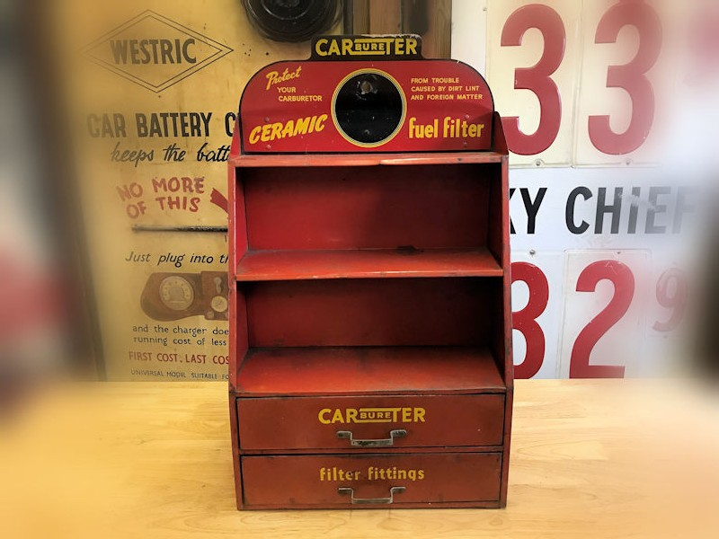 1960s carburetor ceramic fuel filter display cabinet