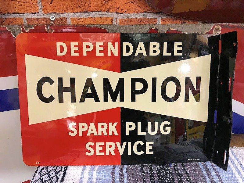 Vintage double sided tin Dependable Champion Spark Plug Service flange sign