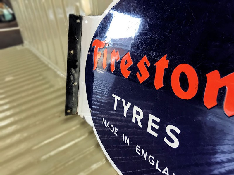 Original double sided enamel Firestone Tyres Made In England flange sign