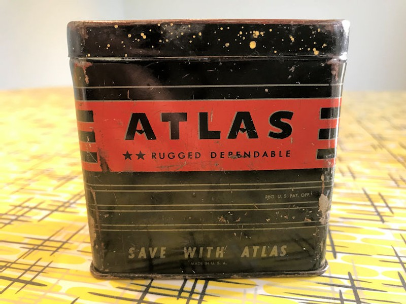 1950s Atlas battery shaped money tin
