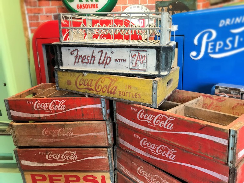 Original Coca Cola, Pepsi, Dr Pepper and 7 Up  crates