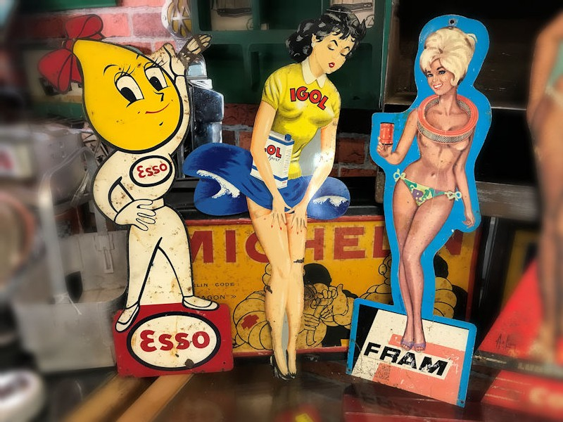 Original Esso Igol Fram Cofran and Dunlop advertising pin up girls