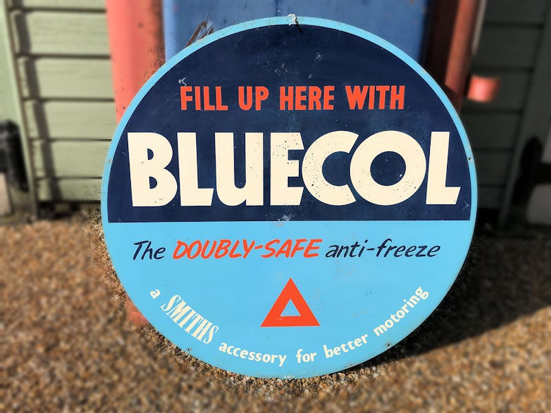 Original double sided Bluecol antifreeze sign