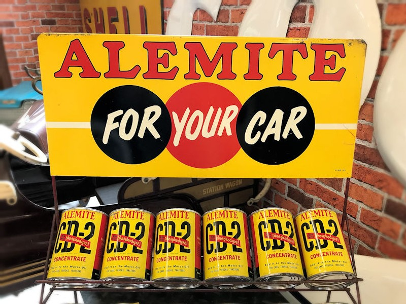 NOS 1959 Alemite display rack and tin cans