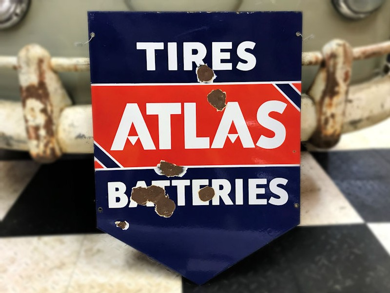 Original double sided enamel Atlas Tires and Batteries sign