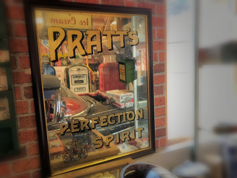 Rare 1920s Pratts Perfection Spirit mirror