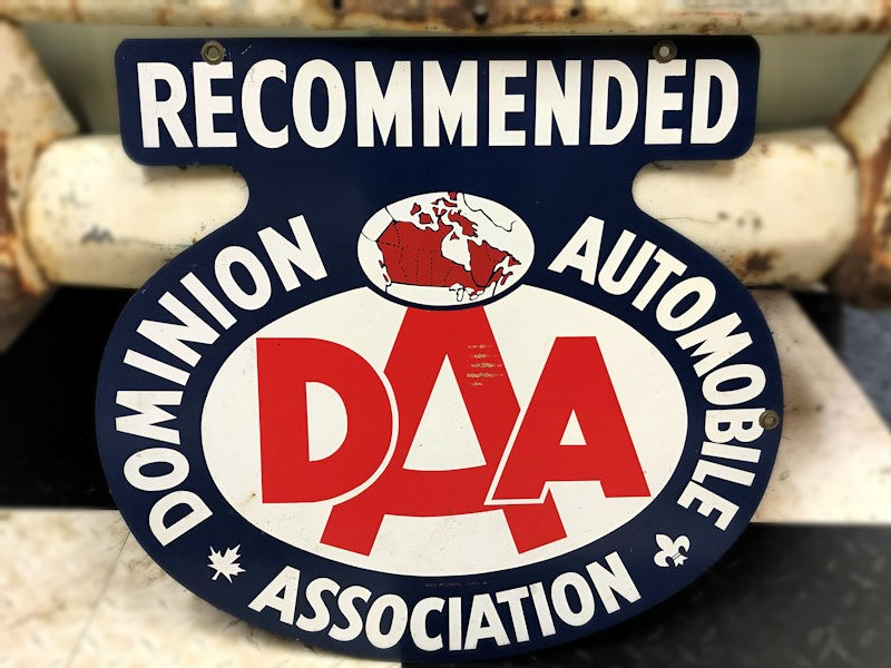 Original new old stock painted tin double sided Dominion Automobile Association sign
