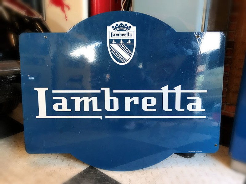 All original double sided enamel Lambretta sign