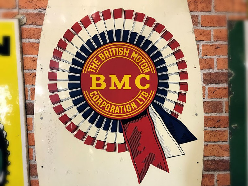 Original painted tin 1950s BMC service sign