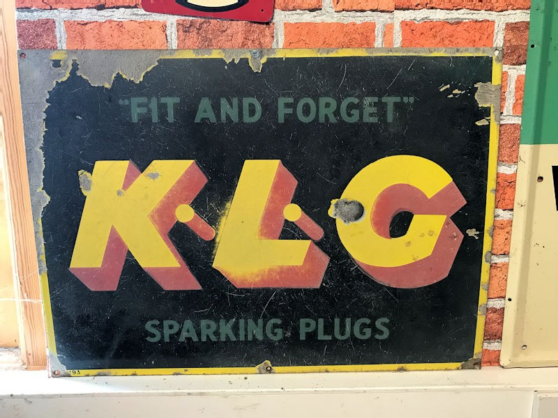 Enamel fit and forget KLG spark plugs sign