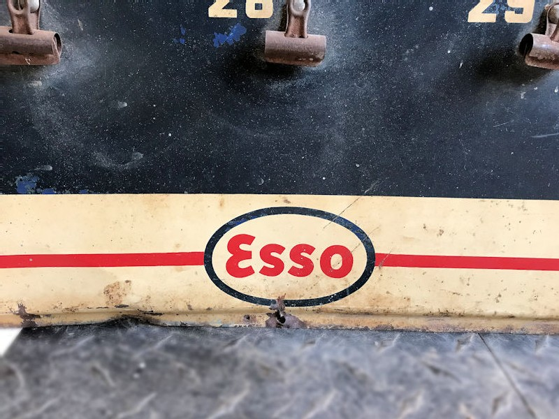 Original painted tin Esso dealer lubrication record card display-sign