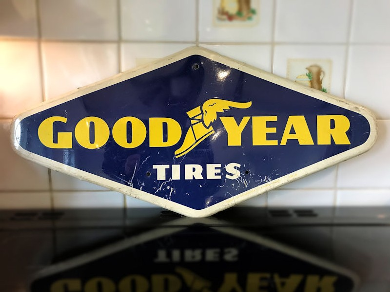 Original 1966 tin Goodyear tires signs
