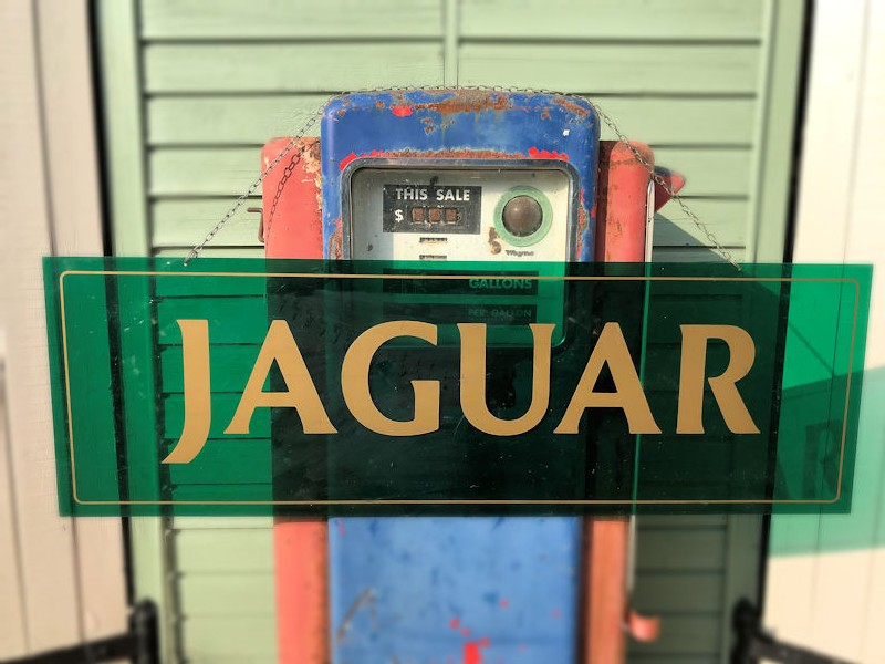 Original perspex Jaguar sign