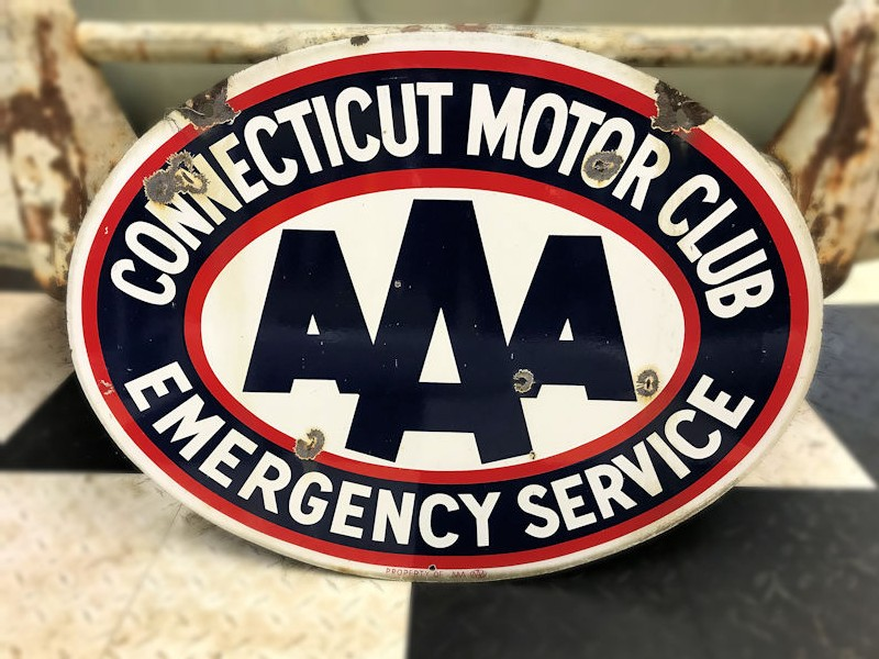 Original double sided enamel Connecticut Motor Club Triple A sign