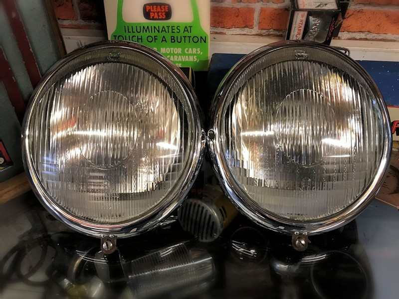 Early VW Beetle Bosch headlights with VW logo