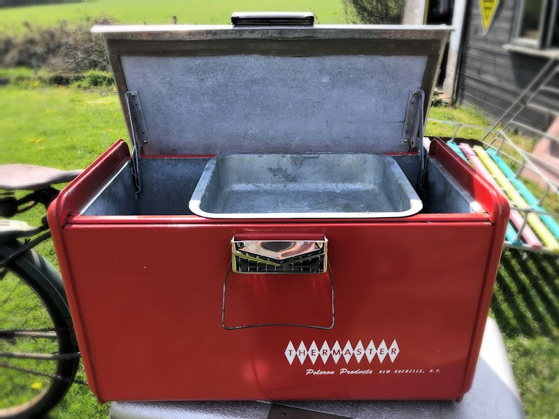 Vintage red aluminium Thermaster Poloron ice chest cooler