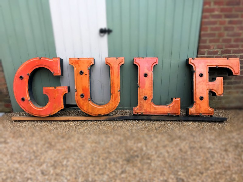 Original Gulf gas station neon letters