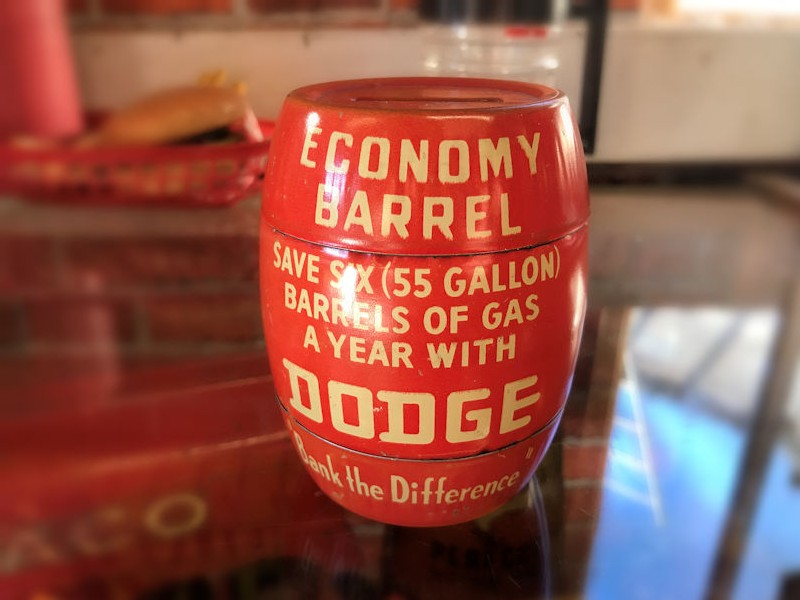 Original Dodge barrel money tin