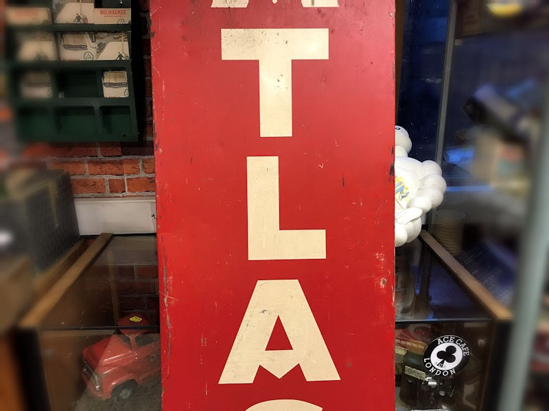 1947 Atlas painted tin sign