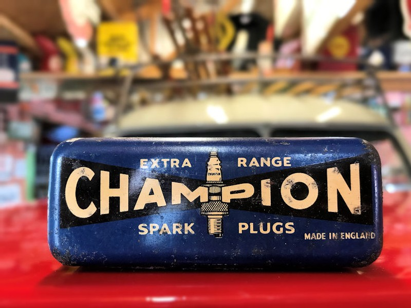 Original English Champion spark plug tin