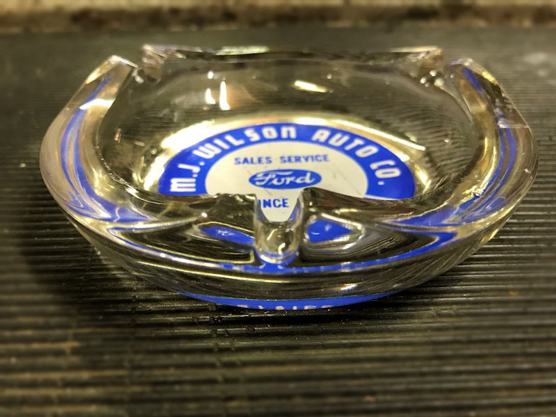 Ford dealership glass ashtray