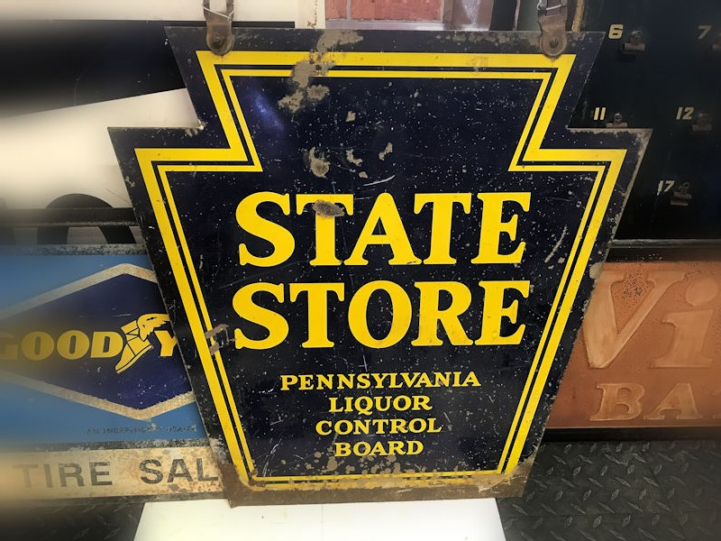 Vintage State Store Pennsylvania Liquor Control Board doubled sided metal sign