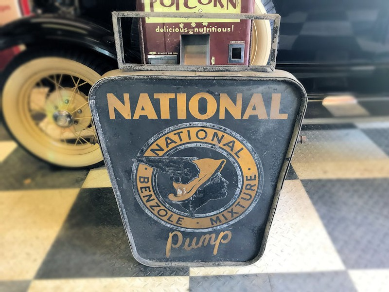 Double sided National Benzole fuel sign