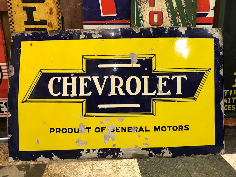 Large rare enamel Chevrolet Product of GM sign