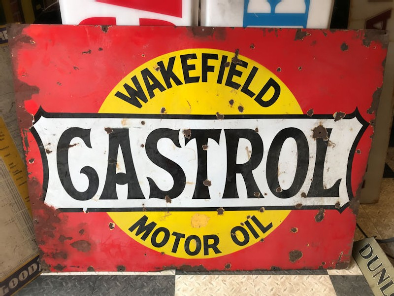 Large enamel Wakefield Castrol Motor Oil sign